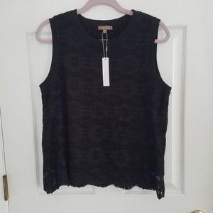 NWT Lilla P Black Lace Overlay Tank Top Shirt L